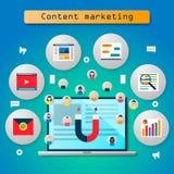 Estrategia de búsqueda de SEO, adquisición contenta, márketing contento, optimización del Search Engine libre illustration