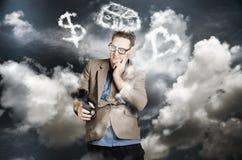Estrategia de la balanza de la vida del trabajo del planeamiento del hombre de negocios Fotografía de archivo libre de regalías