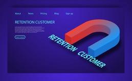 Estrategia de la retención de la audiencia o del cliente Concepto isométrico plano del vector de la retención del cliente stock de ilustración