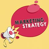 Estrategia de marketing del texto de la escritura de la palabra Concepto del negocio para el esquema en cómo presentar negocio de stock de ilustración