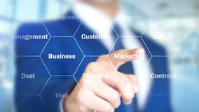 Estrategia de marketing, hombre que trabaja en el interfaz olográfico, pantalla visual ilustración del vector