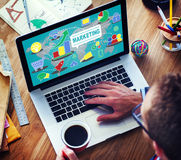 Estrategia de marketing que califica el plan comercial Concep del anuncio foto de archivo