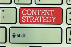 Estrategia del contenido del texto de la escritura de la palabra El concepto del negocio para crea plan de márketing usando las b imagenes de archivo