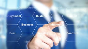 Estrategia empresarial, hombre que trabaja en el interfaz olográfico, pantalla visual ilustración del vector