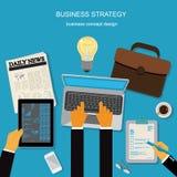 Estrategia empresarial, plantilla, bandera, concepto del negocio, ejemplo del vector en diseño plano Fotos de archivo