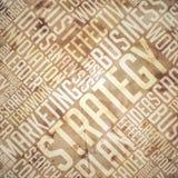 Estrategia - Grunge Beige-Brown Wordcloud. Imagen de archivo libre de regalías