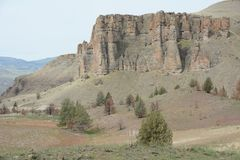 Estratos de la roca de la imagen 3, John Day Fossil Bed, unidad de Clarno, en Oregon central Imagenes de archivo