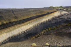 Estratos vulcânicos em Tenerife, Ilhas Canárias Foto de Stock Royalty Free