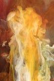 Estratto bianco arancione dell'inchiostro Fotografia Stock Libera da Diritti