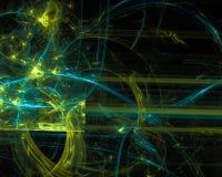 Estratto, curva di esplosione di incandescenza del modello di progettazione, fondo leggero digitale, frattale, scienza di progett illustrazione vettoriale