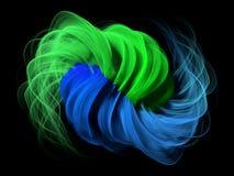 estratto 3d con verde e le linee blu Fotografie Stock