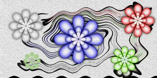 Estratto dei fiori rappresentazione 3d illustrazione vettoriale