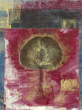 Estratto del foglio su colore rosso Immagine Stock Libera da Diritti