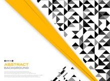 Estratto del nero giallo moderno con PA in bianco e nero del triangolo Illustrazione Vettoriale
