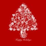 Estratto dell'albero di Natale con i cerchi dei cuori di turbinii Fotografia Stock