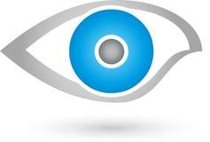 Estratto dell'occhio, sicurezza e logo dell'oculista Fotografia Stock Libera da Diritti