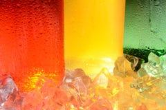 Estratto della bottiglia e del ghiaccio di soda Fotografia Stock Libera da Diritti