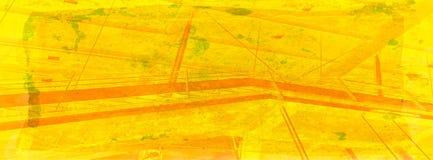 Estratto della stazione ferroviaria nei colori gialli caldi sulla priorità bassa del grunge Immagine Stock