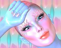 Estratto dentellare Colpo del fronte e della testa della donna, fine su Immagine di fantasia di arte di Digital Fotografia Stock