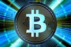 Estratto di Bitcoin Cryptocurrency Fotografia Stock Libera da Diritti