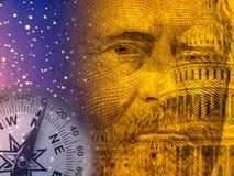 Estratto di economia con il capitol degli Stati Uniti ed il Presidente anziano Immagini Stock