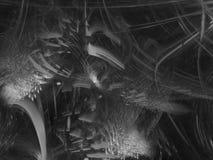 estratto di frattale, fondo digitale dell'elemento, progettazione creativa, caos in bianco e nero illustrazione di stock