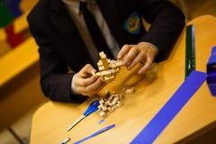 Estratto di legno del blocchetto del gioco con bokeh Fotografia Stock Libera da Diritti