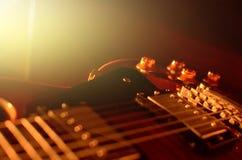 Estratto di macro della chitarra elettrica Fotografia Stock
