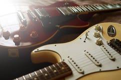 Estratto di macro della chitarra elettrica Immagine Stock
