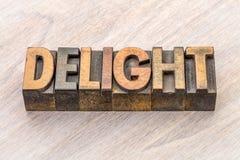 Estratto di parola di delizia nel tipo di legno Fotografie Stock