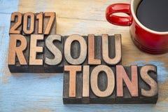 estratto di parola di 2017 risoluzioni nel tipo di legno Fotografia Stock Libera da Diritti