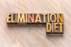 Estratto di parola di dieta di eliminazione nel tipo di legno immagine stock libera da diritti