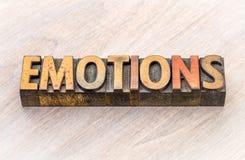 Estratto di parola di emozioni nel tipo di legno Fotografia Stock Libera da Diritti