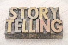 Estratto di parola di narrazione nel tipo di legno Fotografia Stock Libera da Diritti