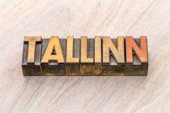 Estratto di parola di Tallinn nel tipo di legno Fotografia Stock Libera da Diritti