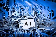 Estratto, fine su del fondo del computer elettronico di mainboard intelligenza artificiale, ai fotografie stock libere da diritti