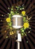 Estratto floreale con il microfono illustrazione di stock