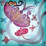 Estratto floreale con la farfalla illustrazione di stock