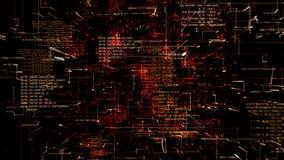 Estratto futuristico che programma il flythrough senza cuciture di codice rosso illustrazione vettoriale