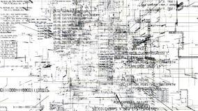 Estratto futuristico che programma il flythrough senza cuciture di codice scuro illustrazione vettoriale