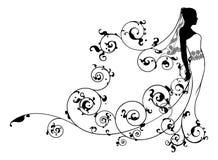 Estratto nuziale della siluetta del vestito dalla sposa Immagini Stock