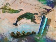 Estratto, pittura, marmo, colori, arte verde blu, bambini dei modelli, fotografie stock libere da diritti