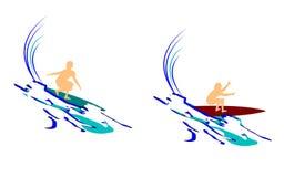 Estratto praticante il surfing royalty illustrazione gratis