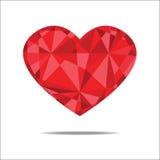 Estratto rosso del cuore isolato sull'ambiti di provenienza bianchi Immagini Stock
