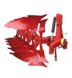 Estratto rosso moderno di fila dell'aratro del trattore isolato sopra bianco Fotografia Stock
