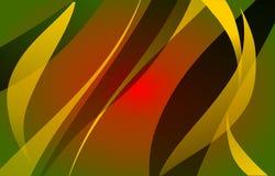 Estratto verde, modello moderno frondoso giallo, nero, rosso di vettore royalty illustrazione gratis
