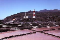 Estrazione del sale al litorale di Palma della La Immagine Stock