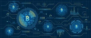Estrazione mineraria Bitcoin Cryptocurrency, flusso numerico Soldi futuristici Blockchain cryptography Illustrazione di Stock