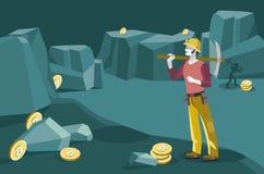 Estrazione mineraria dell'uomo del carattere per Bitcoin Immagine Stock
