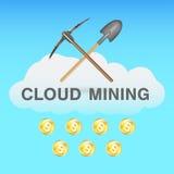 Estrazione mineraria della nuvola di Bitcoin con il piccone e la pala sul logo della nuvola Immagini Stock